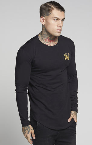 Sik Silk - Long Sleeve Gym Tee - Black & Gold