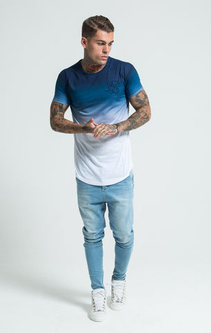 Sik Silk - Gradient Winter Curved Hem Tee - Navy & White