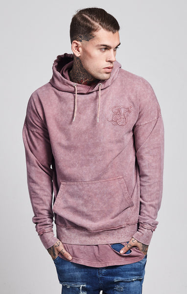 Sik Silk - Acid Wash Drop Shoulder Hoodie - Pink