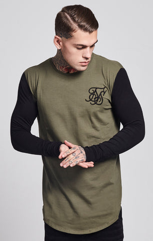 Sik Silk - Contrast Long Sleeve Tee - Khaki & Black