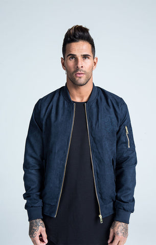 Sik Silk - Suede Bomber - Navy