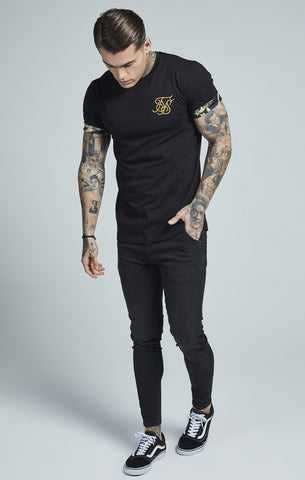 Sik Silk - Venetian Rolled Sleeve Tee - Black & Gold