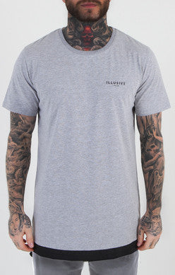 Illusive London - Parachute Hem Tee - Grey Marl