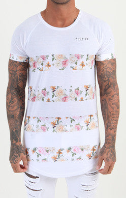 Illusive London - Stripe Floral Tee - Floral/White