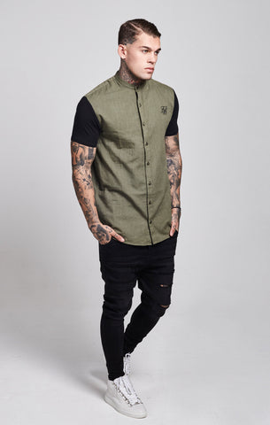 Sik Silk - Short Sleeve Shirt with Contrast Sleeves - Khaki