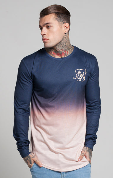 Sik Silk - Peach Horizon Long Sleeve Tee - Peach & Navy