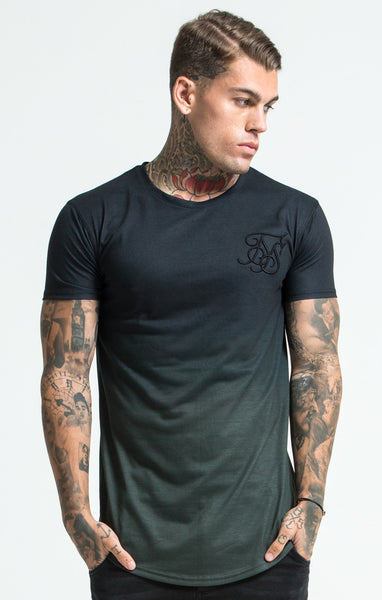 Sik Silk - Gradient Winter Curved Hem Tee - Black & Khaki