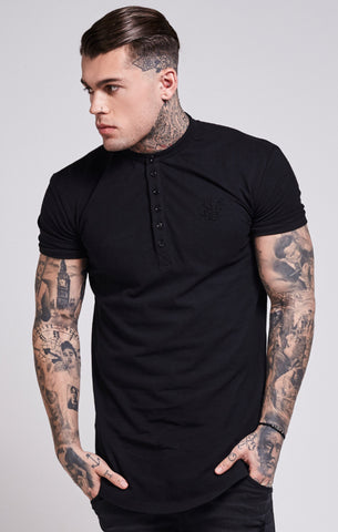 Sik Silk - Collarless Polo Shirt T-Shirt - Black