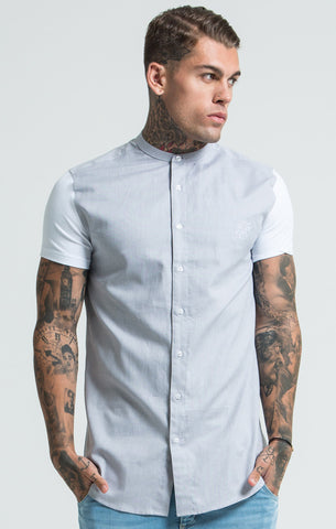 Sik Silk - Short Sleeve Shirt with Contrast Sleeves - Light Grey