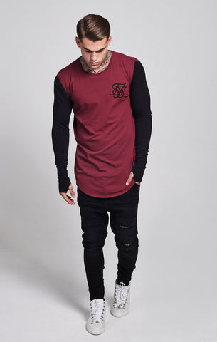 Sik Silk - Contrast Long Sleeve Tee - Burgundy & Black