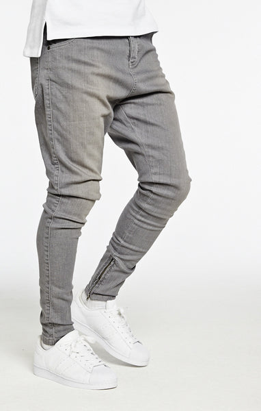 Sik Silk - Dropcrotch Skinny Jean - Light Grey