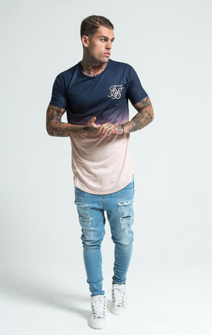 Sik Silk - Peach Horizon Curved Hem Tee - Peach & Navy