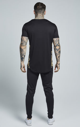 Sik Silk - Venetian Curved Hem Slide Tee - Black & Gold