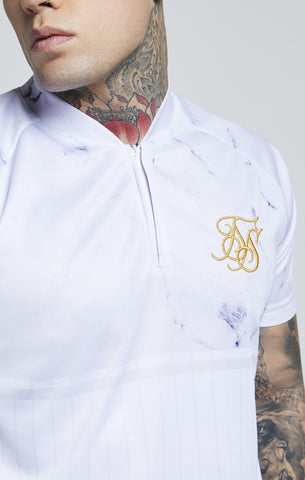 Sik Silk - Marble Baseball Tee - Off White