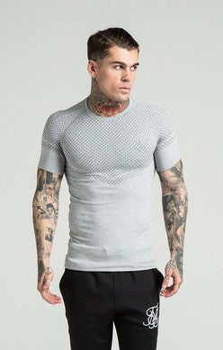 Sik Silk - Diamond Jacquard Compression Tee - Light Grey