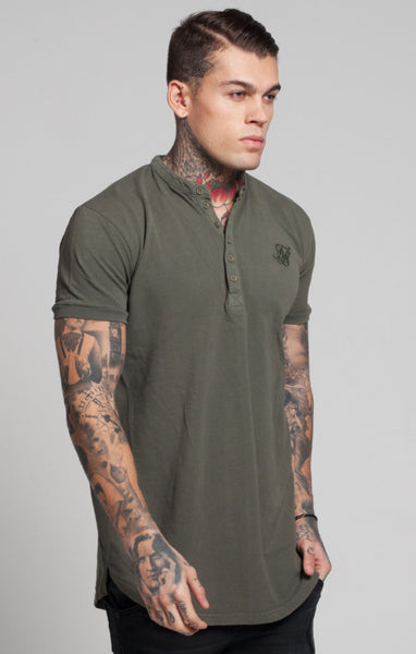 Sik Silk - Collarless Polo Shirt T-Shirt - Khaki