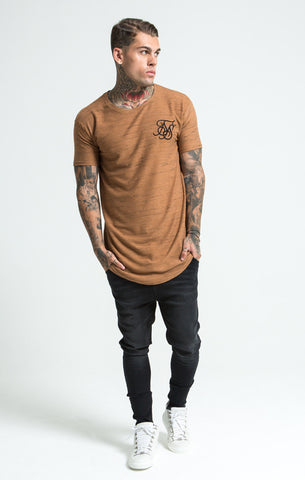 Sik Silk - Inject Waffle Curved Hem Tee - Beige