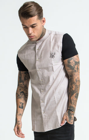 Sik Silk - Short Sleeve Shirt with Contrast Sleeves - Beige