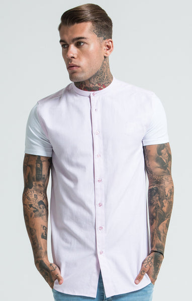 Sik Silk - Jersey Short Sleeve Shirt with Contrast Sleeves - Pink & White
