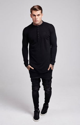 Sik Silk - Collarless Polo Shirt - Black