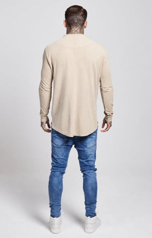 Sik Silk - Collarless Polo Shirt - Sand