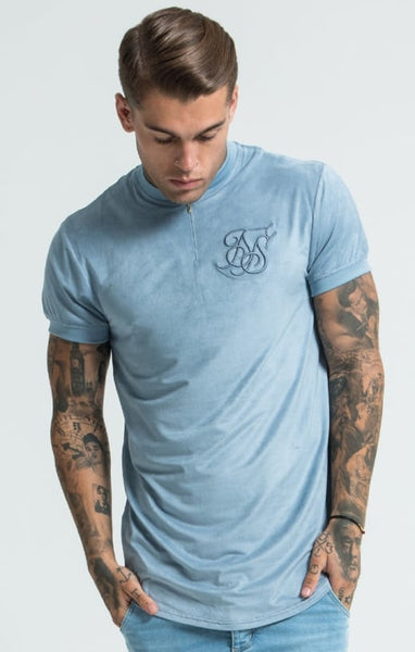 Sik Silk - Cotton Suede Curved Hem Zip Tee - Light Blue
