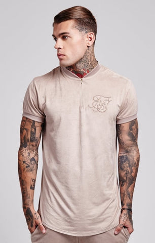 Sik Silk - Cotton Suede Curved Hem Zip Tee - Stone