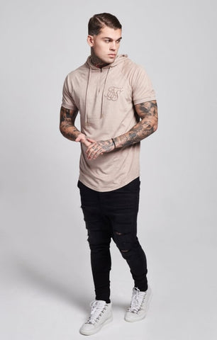 Sik Silk - Cotton Suede Hooded Baseball Tee - Sand