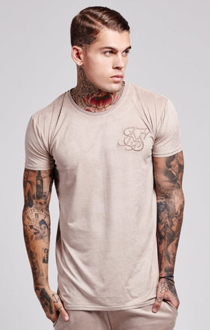 Sik Silk - Cotton Suede Wave Hem Zip Tee - Stone
