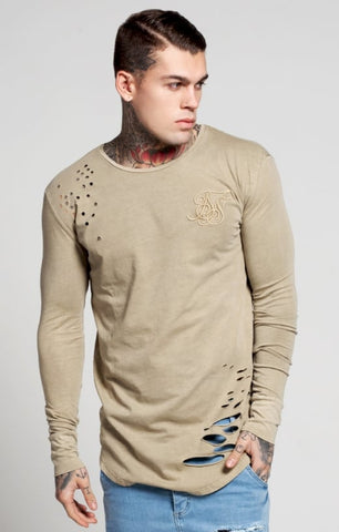 Sik Silk - Destroyed L/S Curved Hem Tee - Beige