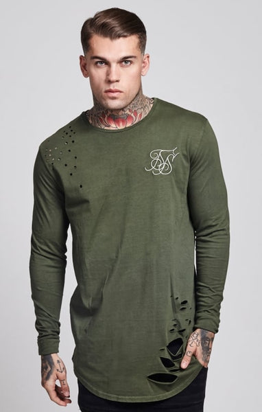 Sik Silk - Destroyed L/S Curved Hem Tee - Khaki