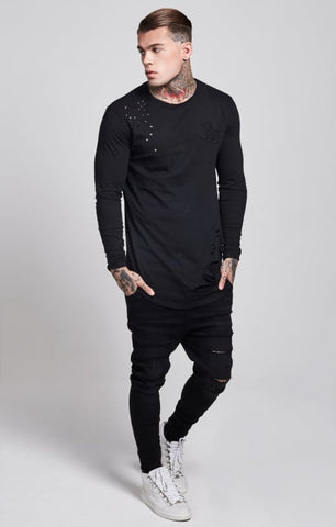 Sik Silk - Destroyed L/S Curved Hem Tee - Black