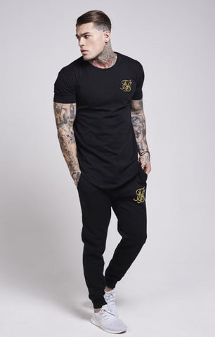 Sik Silk - Gold Edit Curved Hem Tee - Black & Gold