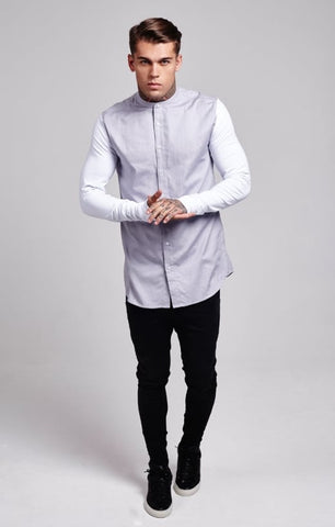 Sik Silk - Jersey Long Sleeve Shirt With Contrast Sleeves - Light Grey