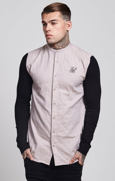 Sik Silk - Jersey Long Sleeve Shirt With Contrast Sleeves - Stone