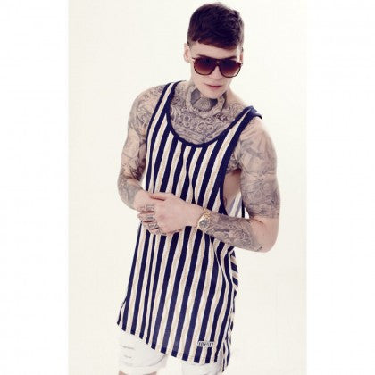 Sik Silk - Nautical Stripe Elongated Vest - Gold Chain/Navy