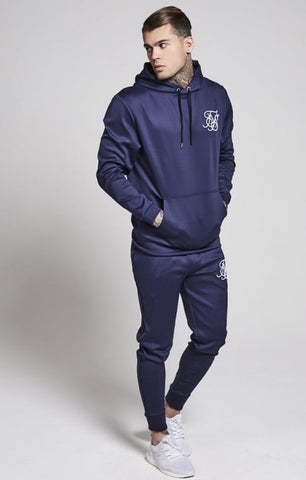 Sik Silk - Poly Tricot Fitted Overhead Hoodie - Navy