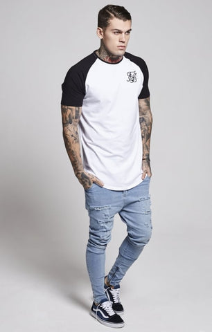 Sik Silk - Raglan Curved Hem Tee - White/Black