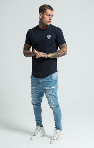 Sik Silk - Short Sleeve Gym Tee - Navy Blue