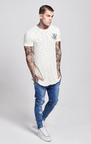 Sik Silk - Weathered Curved Hem Tee - Cream