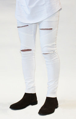 Sik Silk - Biker Ripped Jeans - White