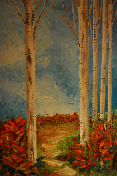 Birch Walk - Painting - Sjon de Groot