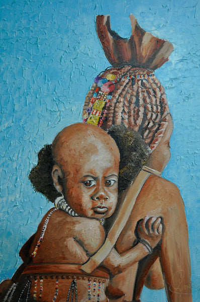Bushman Child - Painting - Sjon de Groot