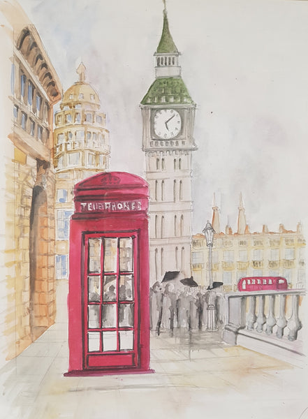 London Big Ben Red Telephone Booth - Painting - Sjon de Groot