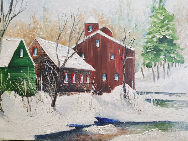 Red Barn in Winter - Painting - Sjon de Groot