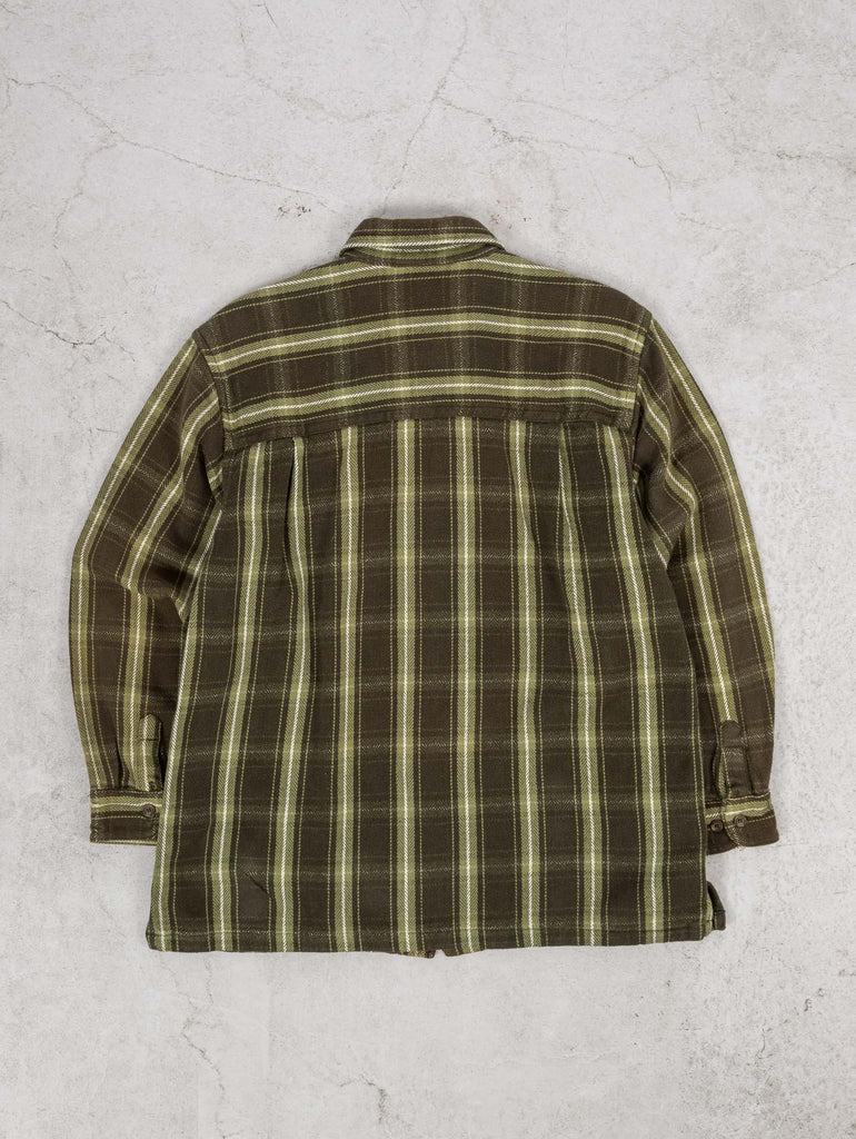 Men's Vintage Heavyweight Checked Flannel Shirt - Large