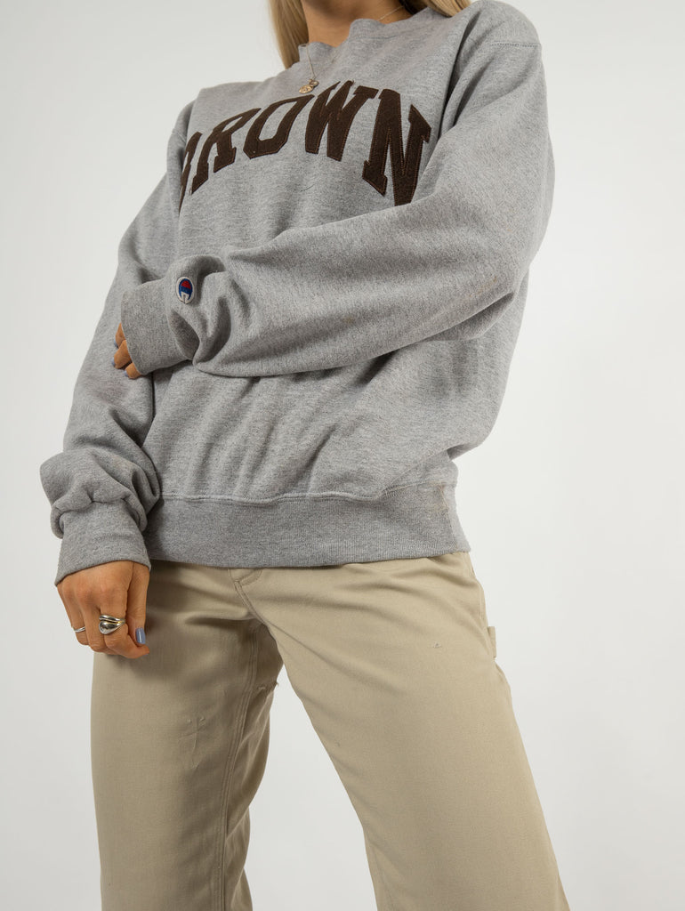 Women's Vintage Champion Brown Sweatshirt - Small