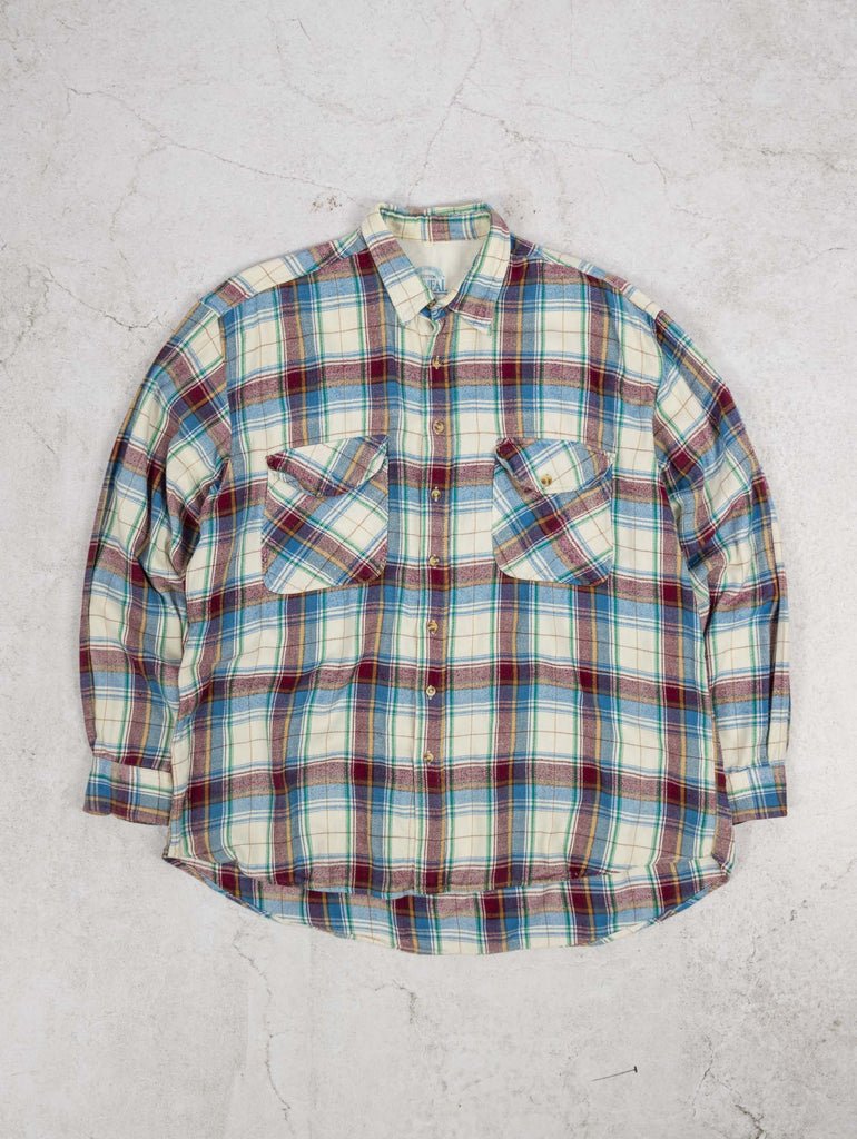 Men's Vintage Checked Flannel Shirt - X-Large