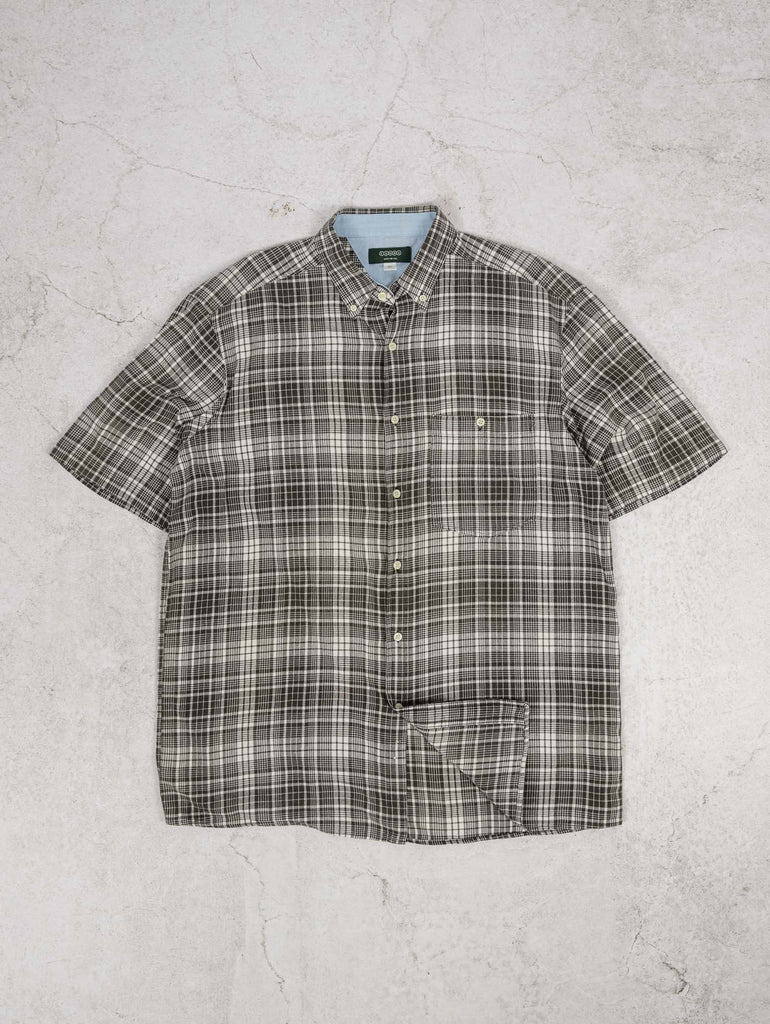 Men's Vintage Checked Short Sleeve Shirt - X-Large