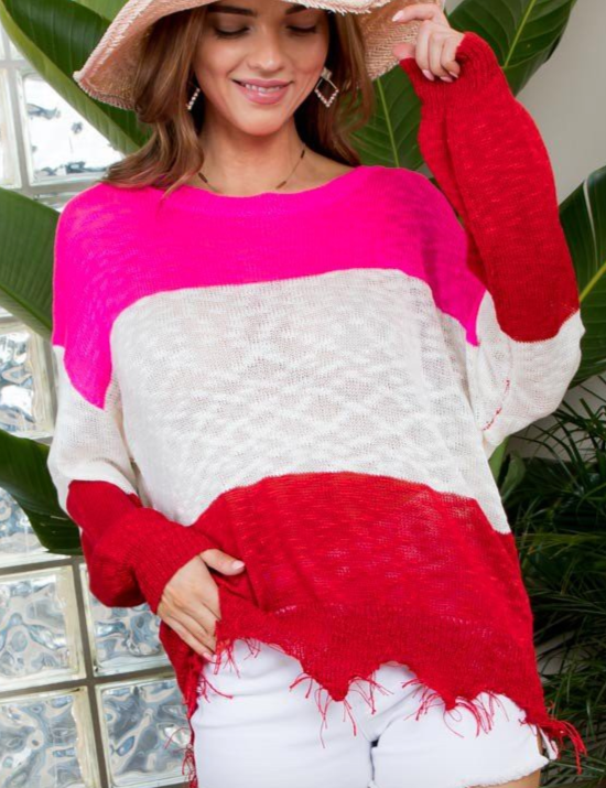 LOVELY FUCHSIA COLOR BLOCK SWEATER
